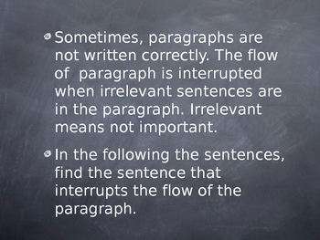 Finding Irrelevant Sentences in a Paragraph ppt