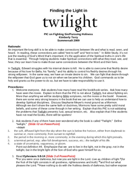 """Finding the Light in Twilight"" Bible Study"