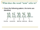 Finding the Nth term in a sequence PPT