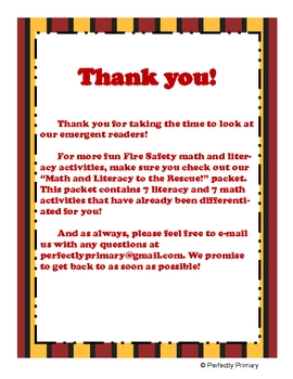 Fire Safety Week: Emergent Readers
