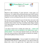 First Day of School Parent Newsletter