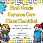 First Grade Common Core Class Checklist {Now Editable!}