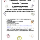 First Grade Common Core Essential Questions Posters & Worksheet