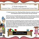 First Grade Common Core Language Arts Checklists and Drop