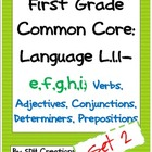 First Grade Common Core Language (L.1.1-e,f,g,h,i) Unit-SET 2