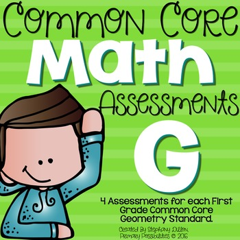 First Grade Common Core Math Assessments- Geometry 1.G.1,