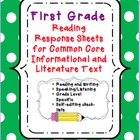 First Grade Common Core Reading Response Sheets