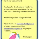First Grade Data Notebook - FREE!