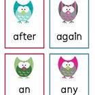 First Grade Dolch Words Flashcards - Owls