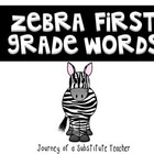 First Grade Dolch Words: Zebra Print Frame