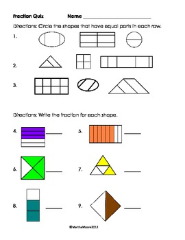 First Grade Fraction Fun Packet
