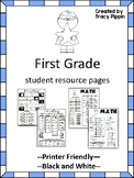 First Grade Help Pages for Reading and Math Folders, Homew