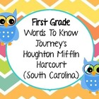 First Grade Journey's (Houghton Mifflin Harcourt) Word Wall Words