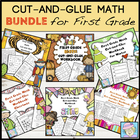 First Grade Math Common Core Cut-and-Glue Workbook:  COMBO Pack