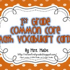 First Grade Math Common Core Vocabulary Cards