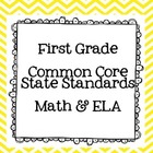 First Grade Math & ELA Common Core State Standards Freebie