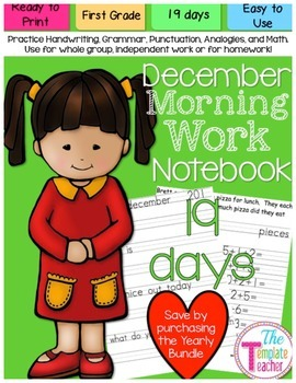 First Grade Morning Work - Do Now - December