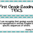 First Grade Reading TEKS Cards in Turquoise Dots
