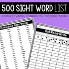 First Grade Sight Word Pack: Fifth Hundred Words