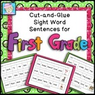 First Grade Sight Word Practice Cut-and-Glue Sentences--20