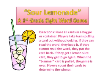First Grade Sour Lemonade Sight Words Game