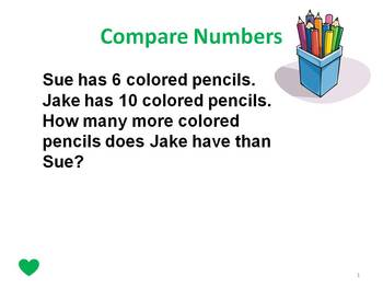 First Grade Story Problems Difference Unknown