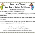 First Grade - Super End of School Year Super Hero Certificates