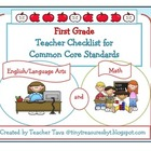 First Grade Teacher Checklist for Common Core Standards (U
