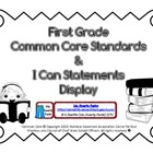 First Grade Teacher/Kid Friendly Common Core Cards Black &amp; White