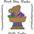 First Nine Weeks Math Tests