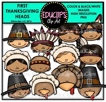 First Thanksgiving Heads Clip Art Bundle