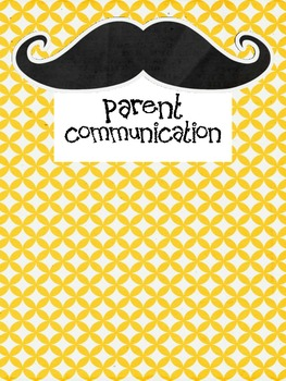 First Week Parent Communication Forms Mustache Themed