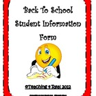 First Week of School Forms: Student Information Form