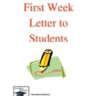 First Week of School Letter to Students