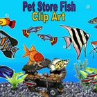 Fish Clip Art: Pet Store Aquarium Fish Color and Black and White