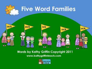 Five Word Families for the Smart Board, IWB,  or Computer