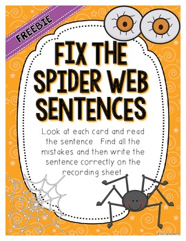 Fix the Spider Web Sentences - Creepy ELA Center {FREEBIE}