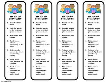 Fix'Em Up Strategy  Book Marks Freebie