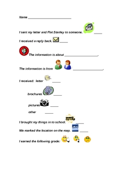 Flat Stanley Tracking/Grading Sheet