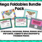 Foldables Math Bundle Pack: Fractions, Decimals, Ratios, A