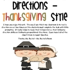 Following Directions - Thanksgiving