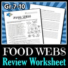 Food Webs - Review Worksheet