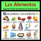 Foods Vocabulary Activities & Games Unit in Spanish (Las comidas)