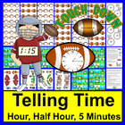 Football Time: Clocks Math Centers: Touchdown Time!-3 Levels