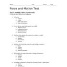 Forces and Motion Unit Test with Answer Key