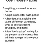 Foreign Language Open House Packet (Spanish)