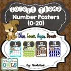 Forest Theme Number Posters Chevron (Blue, Brown, Aqua, Green)