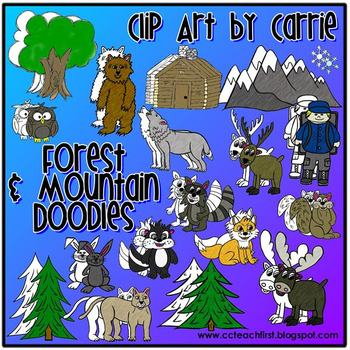 Forest and Mountain Doodles clip art