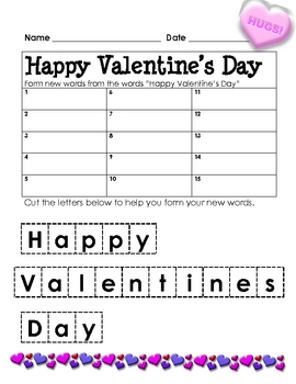 Form a Word: Valentine's Day