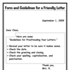 Form and Guideline for a Friendly Letter